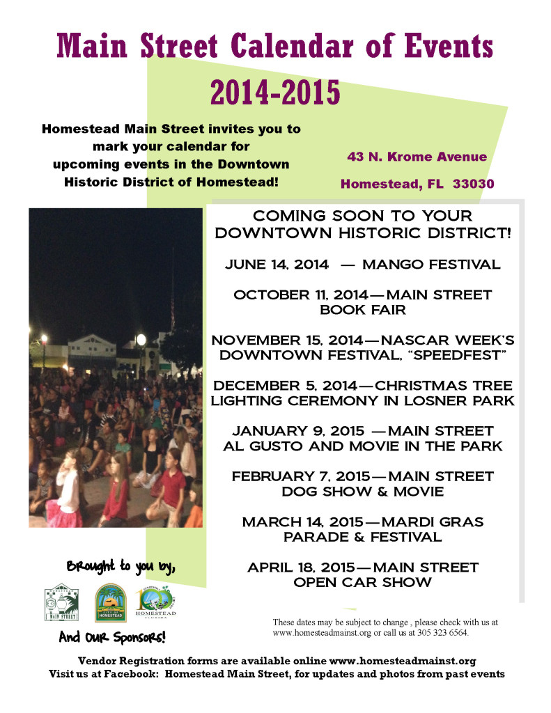 Calendar of Events Poster 2014-2015
