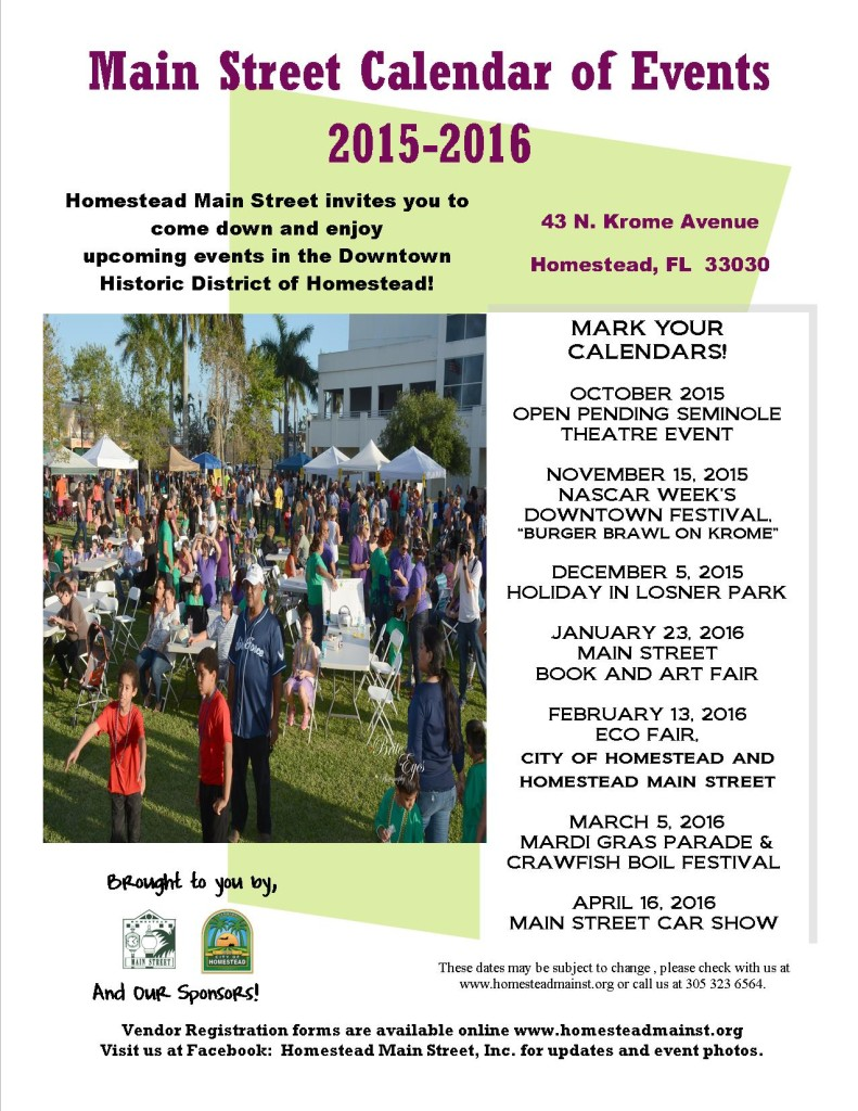 Calendar of Events Poster 2015-2016